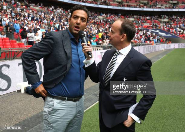 Former Tottenham Hotspur player Mido is interviewed at half time during the Premier League match between Tottenham Hotspur and Fulham FC at Wembley...