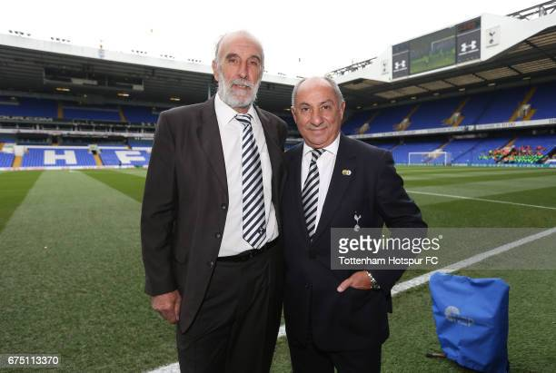 Former Tottenham Hotspur players Ossie Ardiles and Ricky Villa pose for a photograph inside the stadium prior to the Premier League match between...