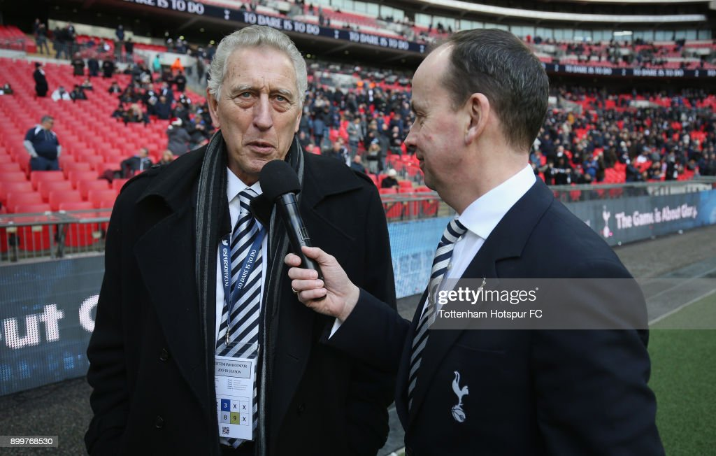 Former Tottenham player Martin Chivers is interviewed at half time during the Premier League match between Tottenham Hotspur and Southampton at Wembley Stadium on December 26, 2017 in London, England.
