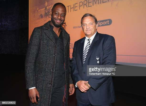 Former Tottenham players Gary Mabbutt and Ledley King during the premiere of 'The Lane' documentary film at BT Sport Studios on November 30 2017 in...