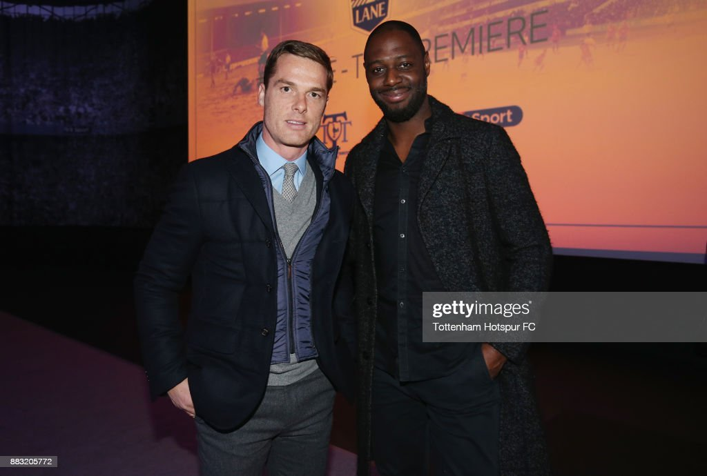 Former Tottenham players Scott Parker and Ledley King during the premiere of 'The Lane' documentary film at BT Sport Studios on November 30, 2017 in Stratford, England.