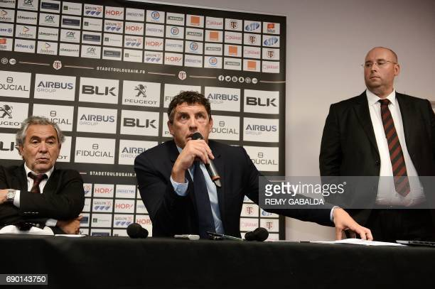 Former Toulouse player Didier Lacroix flanked by Stade Toulousain Rugby club president Jean Rene Bouscatel and Commercial manager for Infront Sport...