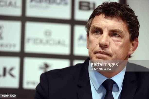 Former Toulouse player Didier Lacroix looks on during a press conference announcing Lacroix as the Stade Toulousain Rugby president on May 30 2017 in...