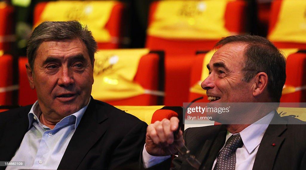 Former Tour de France winner Eddy Merckx (l) and Bernard Hinault attend the 2013 Tour de France Route Presentation at the Palais des Congres de Paris on October 24, 2012 in Paris, France.