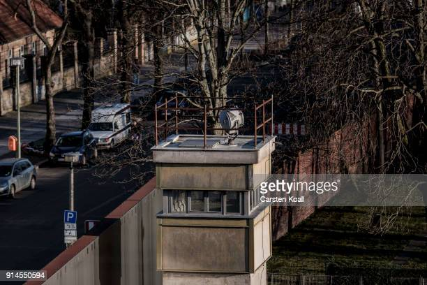 A former tower for monitoring the border strip stands at the Berlin Wall memorial at Bernauer Strasse on February 5 2018 in Berlin Germany Today has...