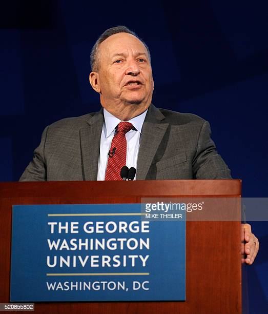 Former Treasury Secretary and current Harvard Professor Larry Summers makes remarks during a discussion on low-income developing countries at the...