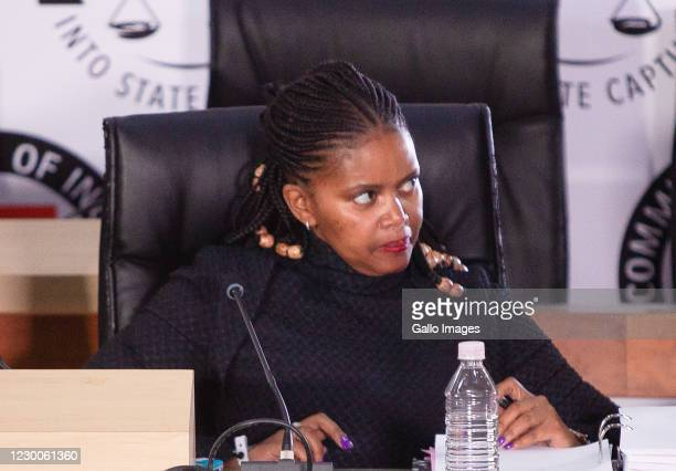 Former Trillian employee Ms Msilo Mothepu testifies at the Commission of Inquiry on December 10, 2020 in Johannesburg, South Africa. It is reported...