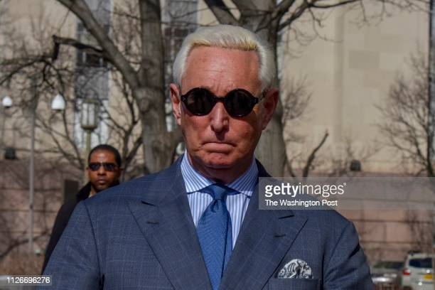 Former Trump adviser Roger Stone makes his way to the E Barrett Prettyman United States Court House on Thursday February 21 in Washington DC Stone...