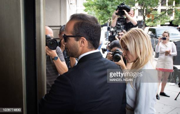 Former Trump campaign advisor George Papadopoulos and his wife Simona Mangiante Papadopoulos arrive at US District Court for his sentencing in...
