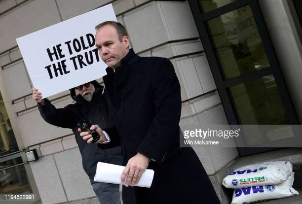 Former Trump campaign aide Rick Gates leaves federal court after sentencing December 17 2019 in Washington DC Gates was sentenced to 45 days in jail...