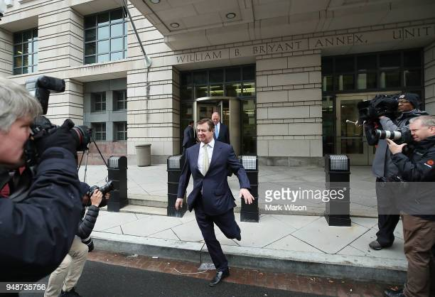 Former Trump campaign chairman Paul Manafort leaves the Barrett Prettyman Federal Courthouse after a motion hearing on April 19 2018 in Washington DC...