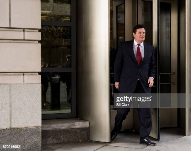 Former Trump campaign chairman Paul Manafort leaves the E Barrett Prettyman US Courthouse after a court hearing on the terms of his bail and house...