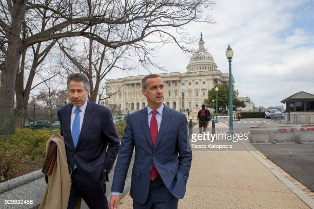 Former Trump campaign manager Corey Lewandowski walks away from the US Capitol after testifying at the House Permanent Select Committee on...