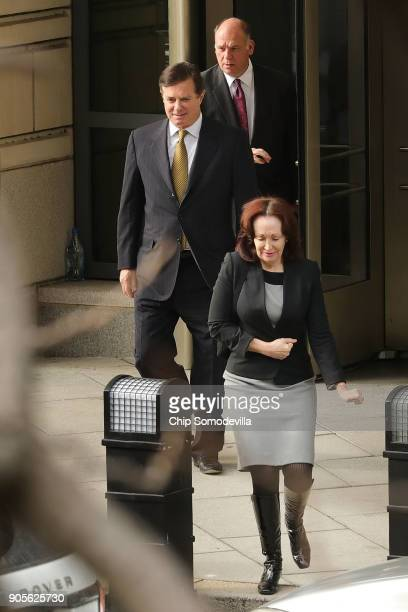 Former Trump campaign manager Paul Manafort and his wife Kathleen leave the Prettyman Federal Courthouse January 16 2018 in Washington DC Manafort...
