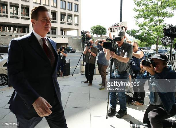 Former Trump campaign manager Paul Manafort arrives at the E Barrett Prettyman US Courthouse for a hearing on June 15 2018 in Washington DC Today a...