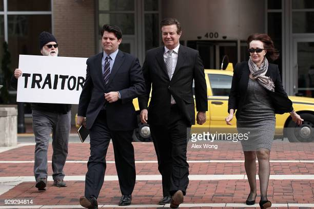 Former Trump campaign manager Paul Manafort arrives with his wife Kathleen Manafort at the Albert V Bryan US Courthouse for an arraignment hearing as...