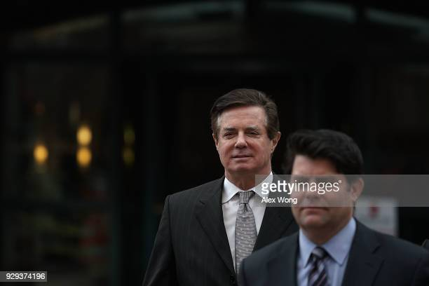 Former Trump campaign manager Paul Manafort leaves the Albert V Bryan US Courthouse with his spokesman Jason Maloni after an arraignment hearing...