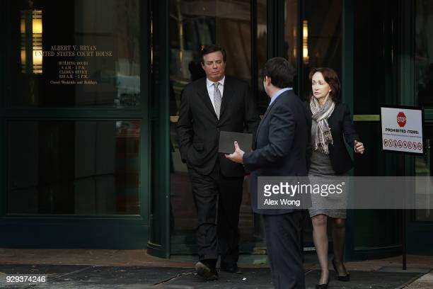 Former Trump campaign manager Paul Manafort leaves the Albert V Bryan US Courthouse with his wife Kathleen Manafort after an arraignment hearing...