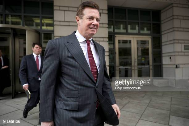 Former Trump Campaign manager Paul Manafort leaves the E Barrett Prettyman United States Courthouse following a hearing on April 4 2018 in Washington...