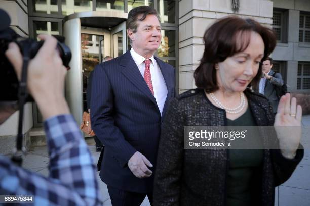 Former Trump campaign manager Paul Manafort leaves the Prettyman Federal Courthouse following a hearing November 2 2017 in Washington DC Manafort and...