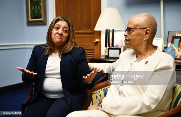 Former Trump National Golf Club employee Victorina Morales and US Representative Bonnie Watson Coleman take part in an interview with AFP in the...