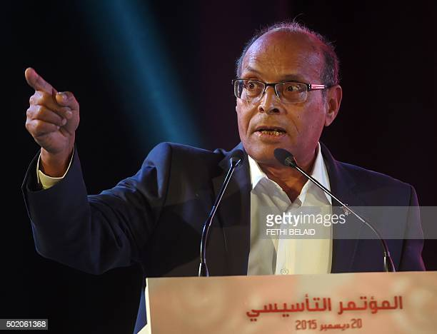 Former Tunisian president Moncef Marzouki delivers a speech during a rally to launch his new political party AlIrada in the capital Tunis on December...