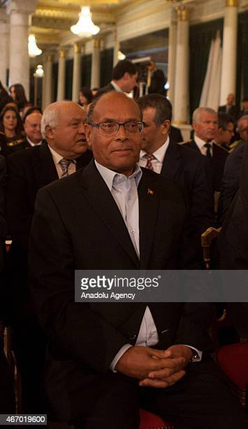 Former Tunisian president Moncef Marzouki is seen at the Carthage Palace during the Independence Day celebrations marking the 58th anniversary of the...