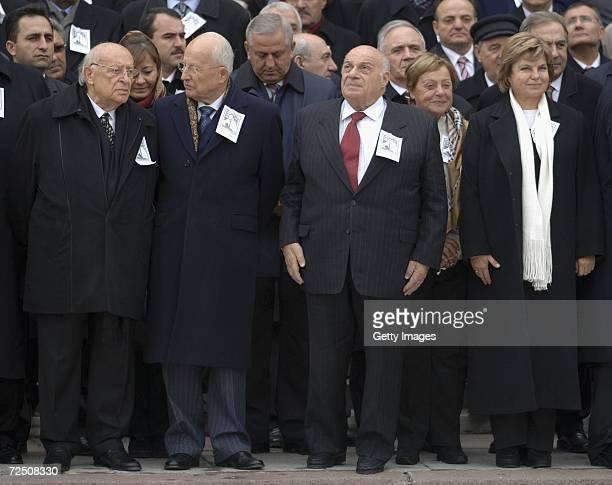 Former Turkish Presidents Suleyman Demirel Kenan Evren and Former Turkish Cypriots President Rauf Denktas and Former Turkish prime minister Tansu...