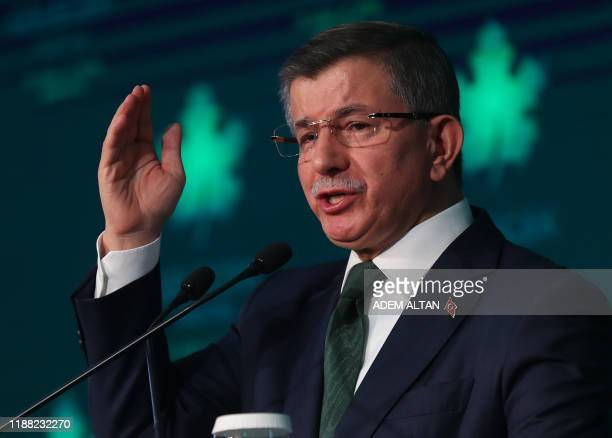 Former Turkish prime minister Ahmet Davutoglu gives a press conference to announce the establishment of his future political party in Ankara, on...