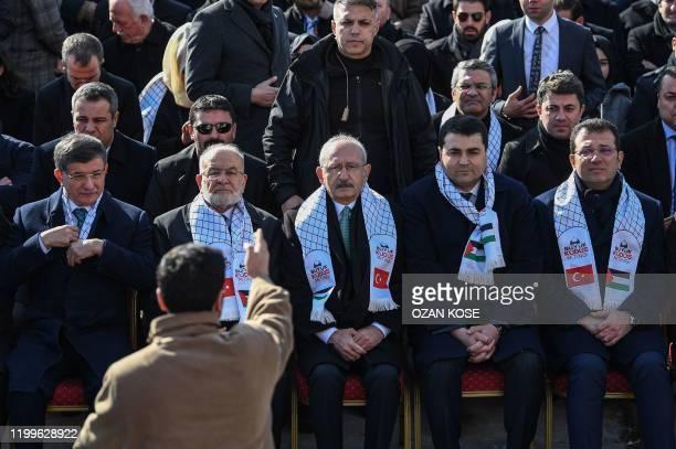 "Former Turkish prime minister and ""Future Party"" chairman Ahmet Davutoglu , Temel Karamollaoglu leader of Saadet Party,Kemal Kilicdaroglu Chairman of..."