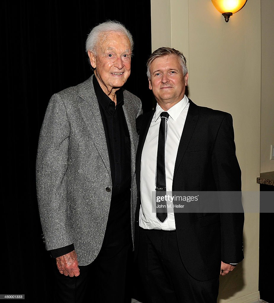 Former TV Host Bob Barker and writer/director Tim Phillips attend the premiere of 'Lion Ark' at the Charles Aidikoff Screening Room on November 15, 2013 in Beverly Hills, California.