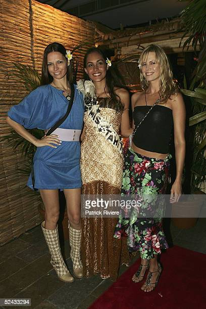 Former TV personality Karen Fisher with fashion designer Tali Jatali and Miss Tahiti Maipou Adams attend the launch of Air Tahiti Nui at Bungalow 8...
