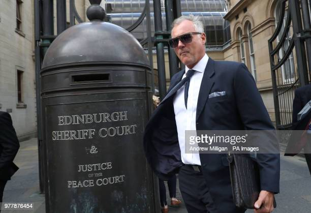 Former TV presenter John Leslie leaves Edinburgh Sheriff Court he is accused of putting his hand down a woman's trousers as they danced at her hen...