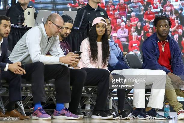 Former TV star from The Bachelorette Rachel Lindsay sits court side during the Conference USA Basketball Championship game between the Western...