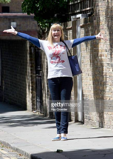 Former TV weather girl Siân Lloyd is seen showing her support for the Wales National Football team on July 06 2016 in London United Kingdom