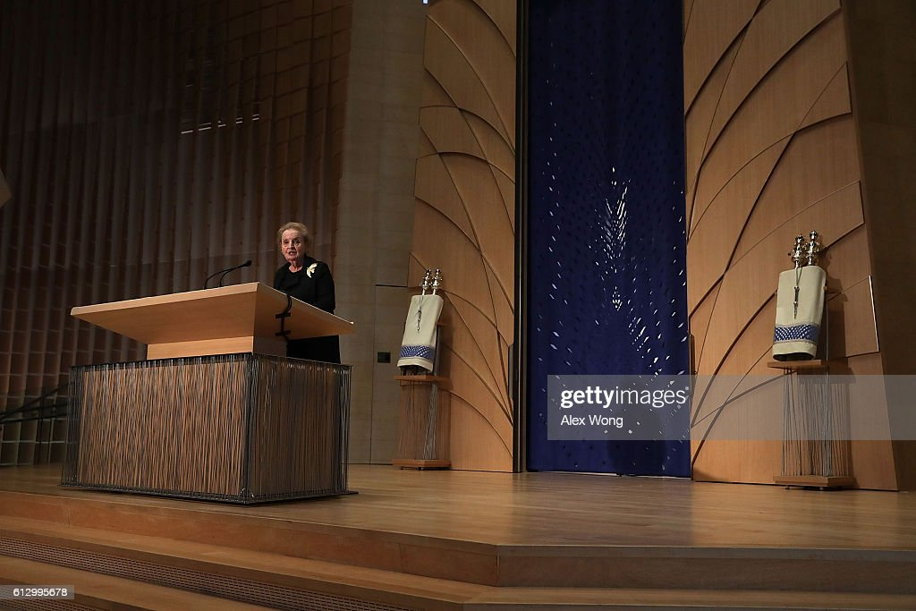 Former U. S. Secretary of State Madeline Albright speaks during a memorial service for the late former Israeli president Shimon Peres at the Adas Israel Congregation October 6, 2016 in Washington, DC. Peres, who had also served as Israeli prime minister twice, died on September 28 in a Tel Aviv area hospital at the age of 93.