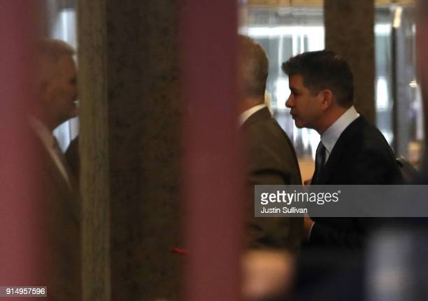 Former Uber CEO Travis Kalanick arrives at Phillip Burton Federal Building for day two of the trial between Waymo and Uber Technologies on February 6...