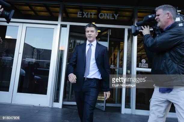 Former Uber CEO Travis Kalanick leaves the Philip Burton Federal Building after testifying on day two of the trial between Waymo and Uber...