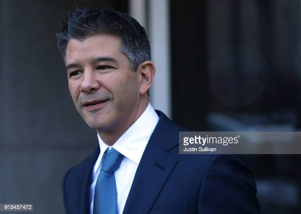 Former Uber CEO Travis Kalanick leaves the Phillip Burton Federal Building on day three of the trial between Waymo and Uber Technologies on February...