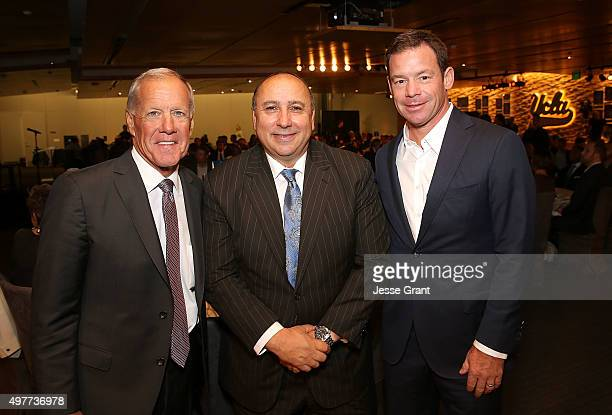 Former UCLA Bruins Football Head Coach Terry Donahue UCLA Athletic Director Dan Guerrero and UCLA Bruins Football Head Coach Jim L Mora attend the...