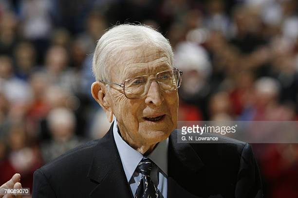 Former UCLA coach John Wooden during semifinal action between Air Force and Duke at the annual CBE Classic at Municipal Auditorium in Kansas City...