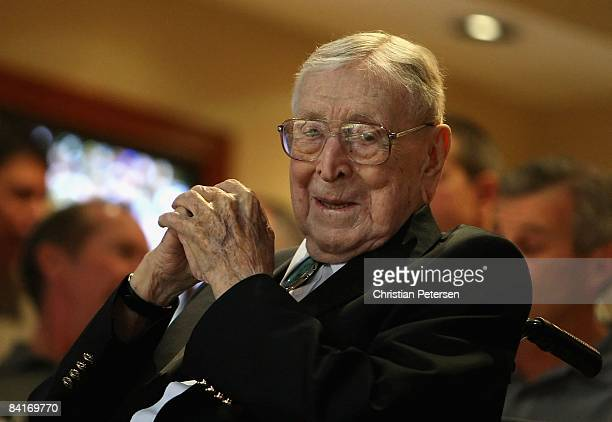 Former UCLA college basketball coach John Wooden looks on during the John R Wooden Classic match between the UCLA Bruins and the De Paul Blue Demons...