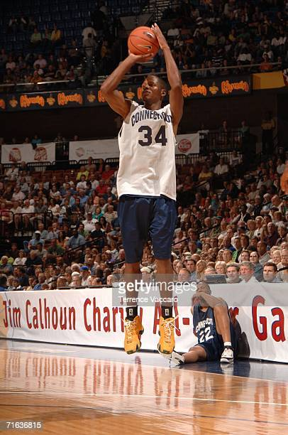 Former UCONN player and current NBA SuperStar Ray Allen jumps with a ball at the Jim Calhoun Charity Basketball Game on August 12 2006 at Mohegan Sun...