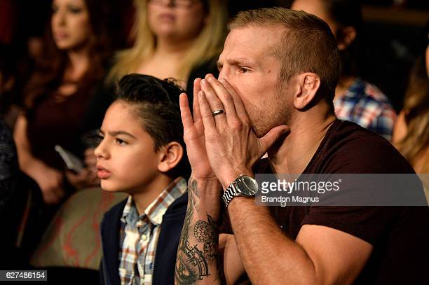 Former UFC bantamweight champion TJ Dillashaw looks on during The Ultimate Fighter Finale event inside the Pearl concert theater at the Palms Resort...