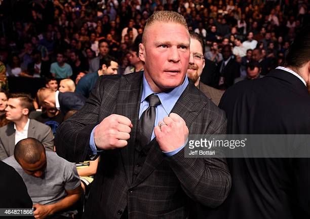 Former UFC Heavyweight Champion Brock Lesnar in attendance during the UFC 184 event at Staples Center on February 28 2015 in Los Angeles California