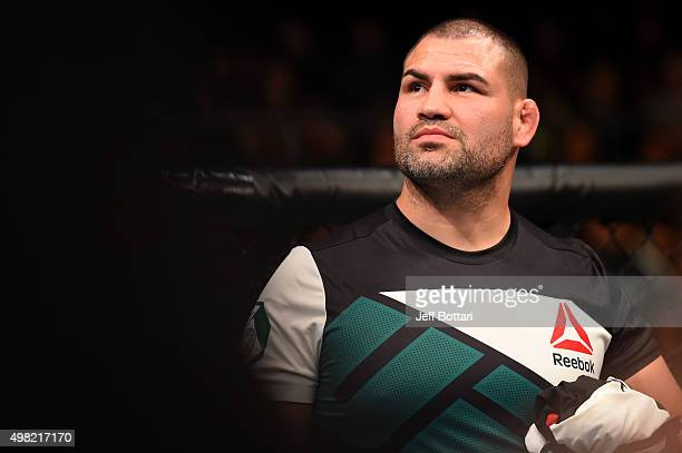 Former UFC heavyweight champion Cain Velasquez is seen in the corner of Gabriel Benitez after his featherweight bout during the UFC Fight Night event...