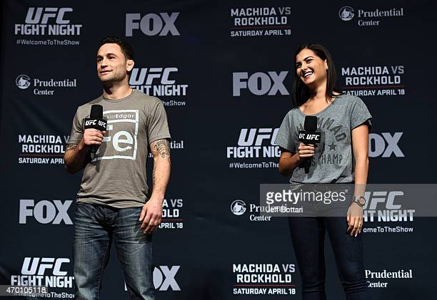 Former UFC lightweight champion Frankie 'The Answer' Edgar and UFC host Megan Olivi interacts with fans during a QA session before the UFC Fight...