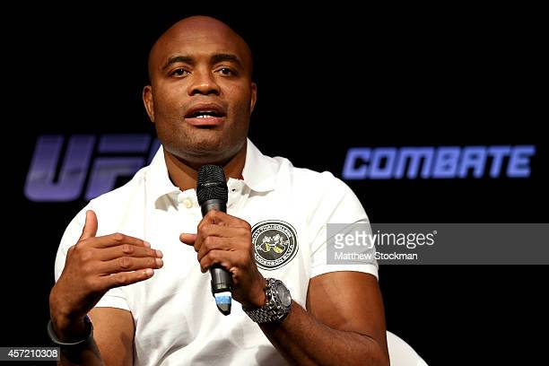 Former UFC middleweight champion Anderson Silva fields questions from the media regarding his return to the Octoagon during a press conference at the...