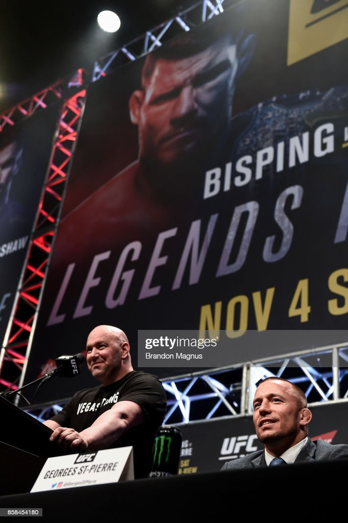 Former UFC welterweight champion Georges St-Pierre interacts with fans and media during the UFC 217 news conference inside T-Mobile Arena on October 6, 2017 in Las Vegas, Nevada.