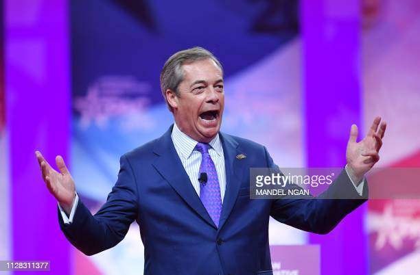 Former UK Independence Party leader and Brexit spearhead Nigel Farage speaks during the annual Conservative Political Action Conference in National...